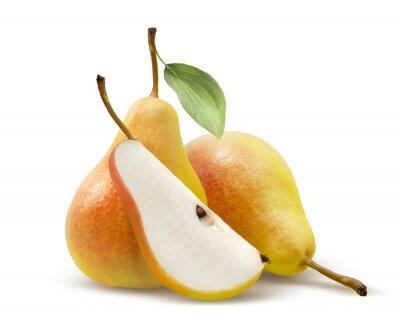 Naklejka Dwie żółte gruszki i czwarta podzielone na białym