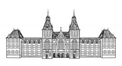 Naklejka Dworca kolejowego w Amsterdamie, Holandia Znani landmark szkic architektoniczny budynku