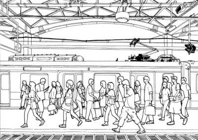 Naklejka Dworzec (kontur i kolor)
