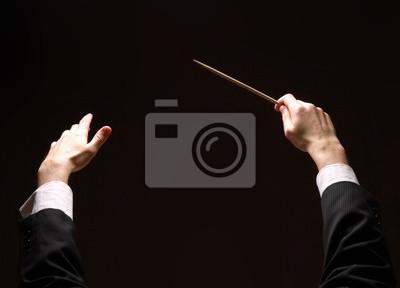Naklejka Dyrygent koncertu rąk z batutą