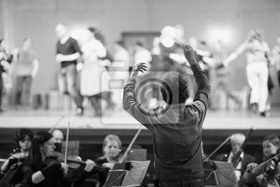 Naklejka Dyrygent prowadzi muzyków w teatrze