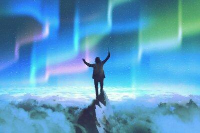 Naklejka dyrygent trzyma baton stojąc na szczycie góry przed nocnym niebie z Northern Lights, ilustracja malarstwo