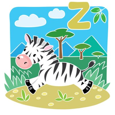 Naklejka Dzieci ilustracji Little Zebra. alphabeth Z
