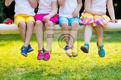Naklejka Dzieci kolorowe buty. Obuwie dziecięce
