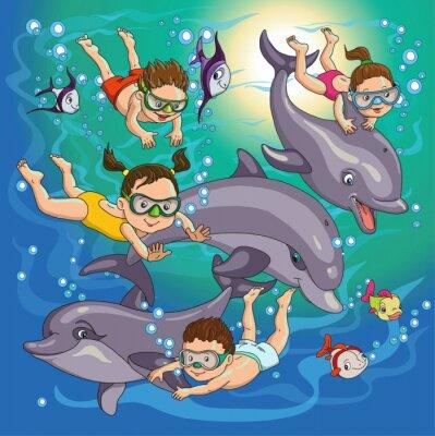 Naklejka dzieci pływać