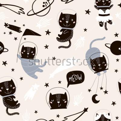 Naklejka Dziecięcy wzór z ślicznymi kotów astronautami. Twórczy tło przedszkola. Idealny do projektowania dla dzieci, tkanin, opakowań, tapet, tkanin, odzieży