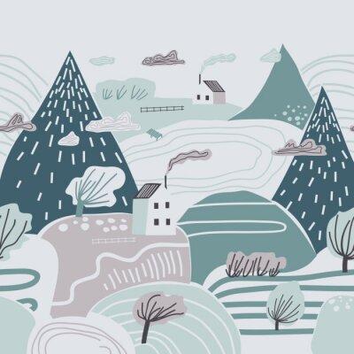 Naklejka Dziecinne kolorowy wzór z góry, wzgórza, doliny i domy. Pochmurny zimowy krajobraz.