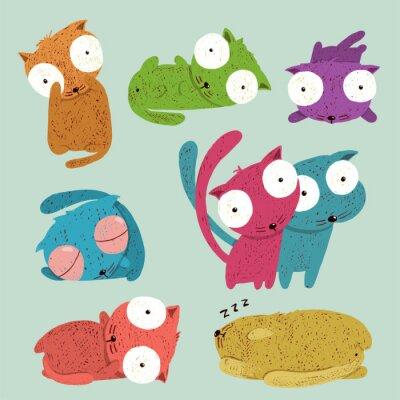 Naklejka Dziecinne zabawne kreskówki dla dzieci Koty Collection