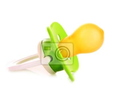 Naklejka Dziecko silikonowy smoczek w kolorze zielonym, na białym backgro