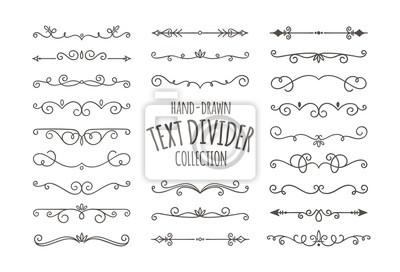 Naklejka Dzielniki dekoracyjne wiruje. Ręcznie rysowane wirowa kaligraficzne ozdoby na białym tle. Ilustracji wektorowych.
