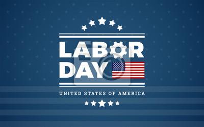 Naklejka Dzień Pracy logo tło USA - niebieskie tło w / gwiazdy, paski, flaga Stanów Zjednoczonych - wektor dzień pracy ilustracji