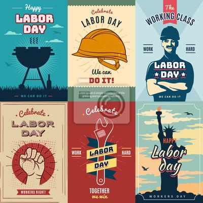 Naklejka Dzień pracy. Zestaw rocznika plakatu na obchody, ilustracji wektorowych.