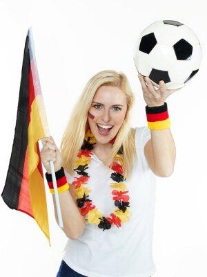 Naklejka Dziewczęcej fanem piłki nożnej świętuje zwycięstwo