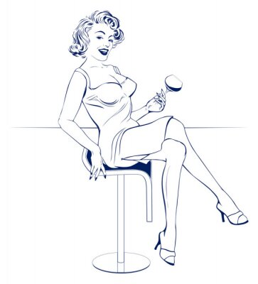 Naklejka dziewczyna bar