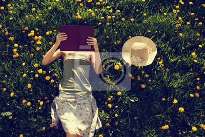 Naklejka Dziewczyna leżącego w trawie, czytając książkę.