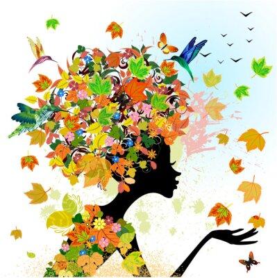 Naklejka Dziewczyna mody kwiaty jesienią