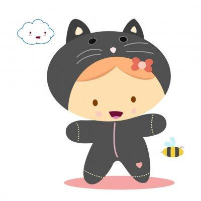 Naklejka Dziewczyna z kostium kot, kawaii style