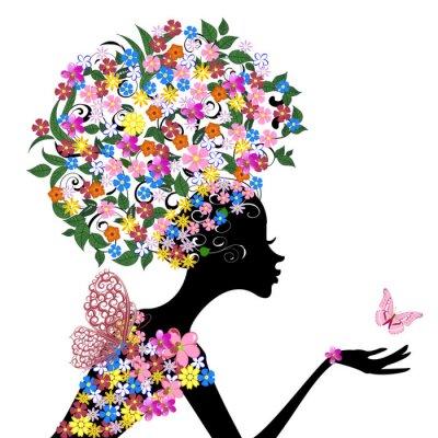 Naklejka Dziewczyna z kwiatów na głowie