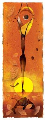 Naklejka Dziewczyna z liści stały w stawie w słońcu