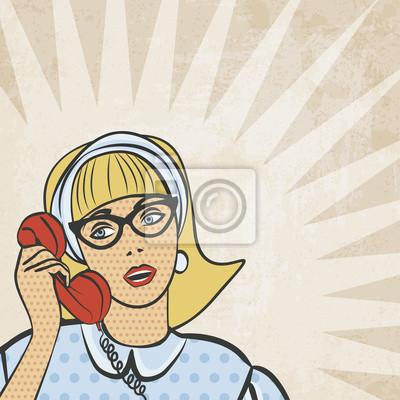 Naklejka Dziewczyna z telefonem w stylu retro - ilustracji wektorowych