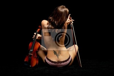 Naklejka Dziewczyna ze skrzypcami