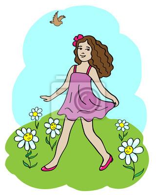 Dziewczynka spacery wśród chamomiles