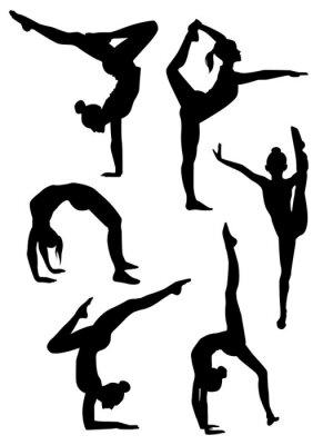 Naklejka Dziewczyny gimnastyczki sylwetki
