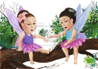 Naklejka dziewczyny w postaci motyli