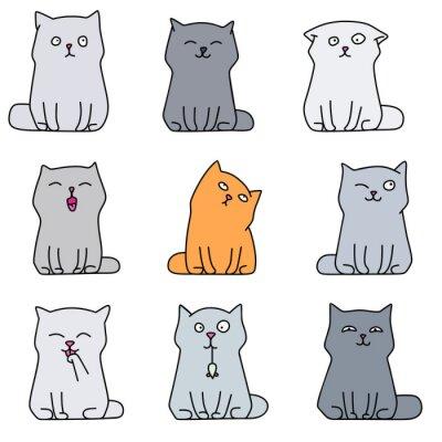 Naklejka Dziewięć słodkie kociaki