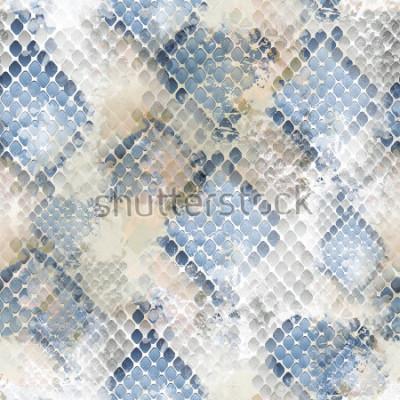 Naklejka Dziki wzór bez szwu. Snakeskin tło z efektem akwareli. Nadruk tekstylny na bieliznę pościelową, kurtki, opakowania, koncepcje tkanin i mody