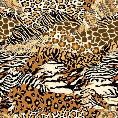 Naklejka Dzikich skór zwierzęcych abstrakcyjne patchwork tapety bez szwu wektor wzór