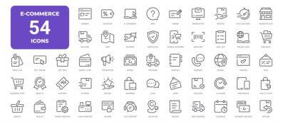 Naklejka E-Commerce Line Icons. Editable Stroke. Pixel Perfect.