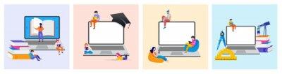 Naklejka E-learning, online education at home. Modern vector illustration concepts for website and mobile website development