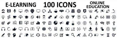 Naklejka E-learning set icons, online education signs – stock vector