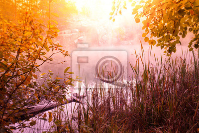 Early foggy morning. Sunrise over a lake with a rocky shore. Rural landscape in summer