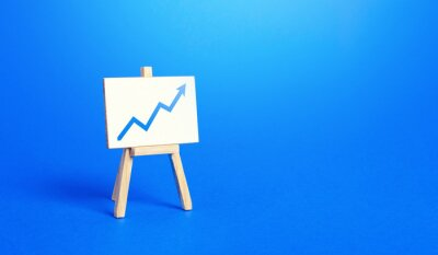 Naklejka Easel and up arrow chart. Concept of success, growth and performance improvement. Statistics and business analytics. Income revenue statement analysis. High efficiency, productivity. Economic progress