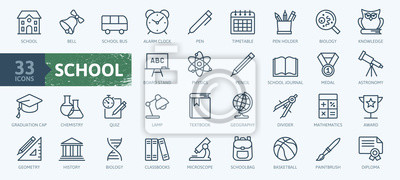 Naklejka Education and back to school - thin line icons set. Outline icons collection.
