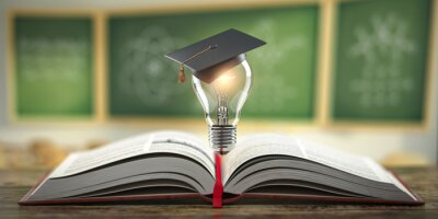Naklejka Education, learning on school and university or idea concept. Open book with light bulb and graduation cap on classroom blackboard background.