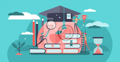 Naklejka Education vector illustration. Flat tiny knowledge learning person concept.