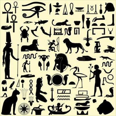 Naklejka Egipskie symbole i znaki sylwetki