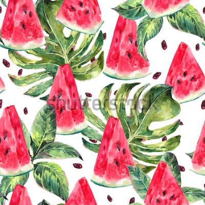 Naklejka Egzotycznego lata akwareli bezszwowy wzór z tropikalnymi liśćmi, plasterki arbuza wzór, naturalna ilustracja na białym tle
