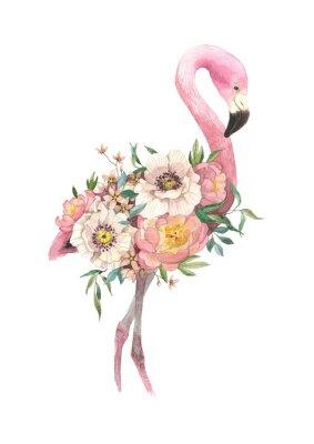 Naklejka egzotyczny ptak jasny Flamingo z kwitnących kwiatów. Izolowane element dekoracyjny. Akwarela ptak koncepcja. Tropikalna koncepcja. koncepcja kwiat