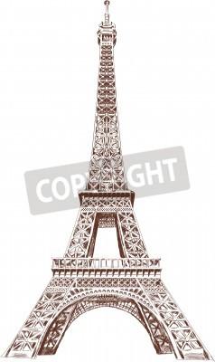 Naklejka Eiffel Tour hand drawn with graphic tablet