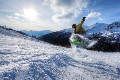 Naklejka Ekspert snowboarder jump