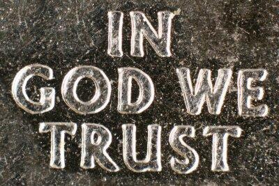Naklejka Ekstremalne makro z coin's amerykańskim mottem religijnej .
