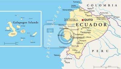 Naklejka Ekwador I Wyspy Galapagos Mapa Na Wymiar Karta