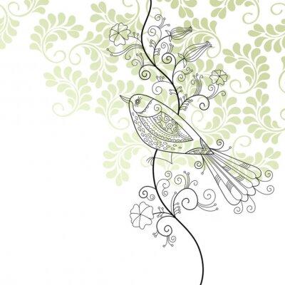 Naklejka Elegancki kwiatowy ilustracja, kartkę z życzeniami