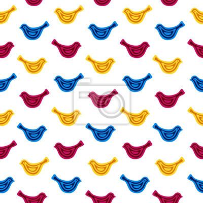 Naklejka Elegancki wzór z ptakami