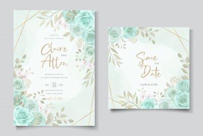 Naklejka Elegant wedding invitation template with turquoise color floral ornament