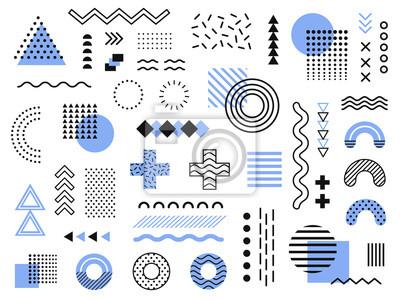 Naklejka Elementy projektu Memphis. Retro funky grafika, trendy z lat 90. i kolekcja elementów geometrycznych w stylu vintage ilustracji wektorowych